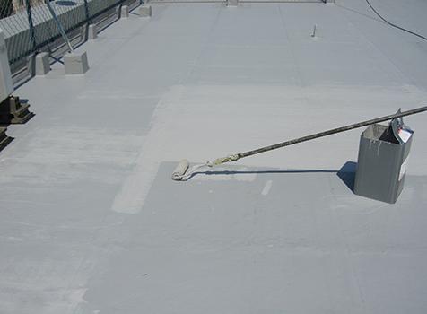 シート防水工事  ウレタン樹脂を2度塗りしてトップコートの完成です